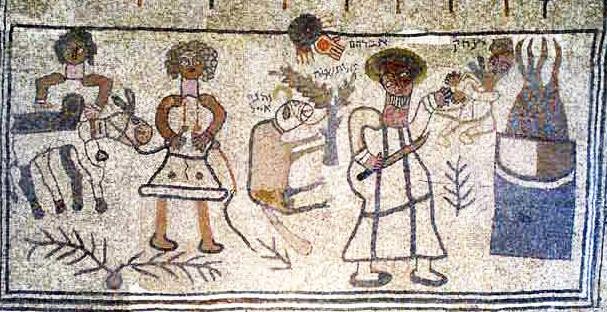 Древняя мозаика, найденная при раскопках  синагоги 5-го века в поселке Бет-Альфа