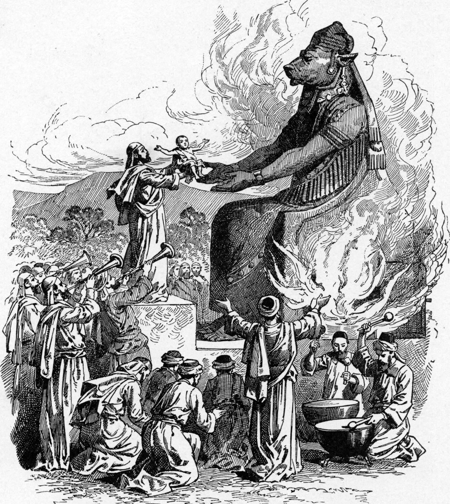 Жертвенник богу Молоху (французская гравюра XIX века)