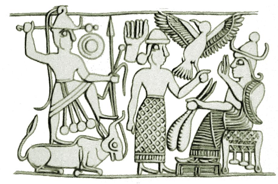 """""""Святое семейство"""" хананейских богов. Слева направо: бог Эль, его жена Ашера  и сын Ваал."""